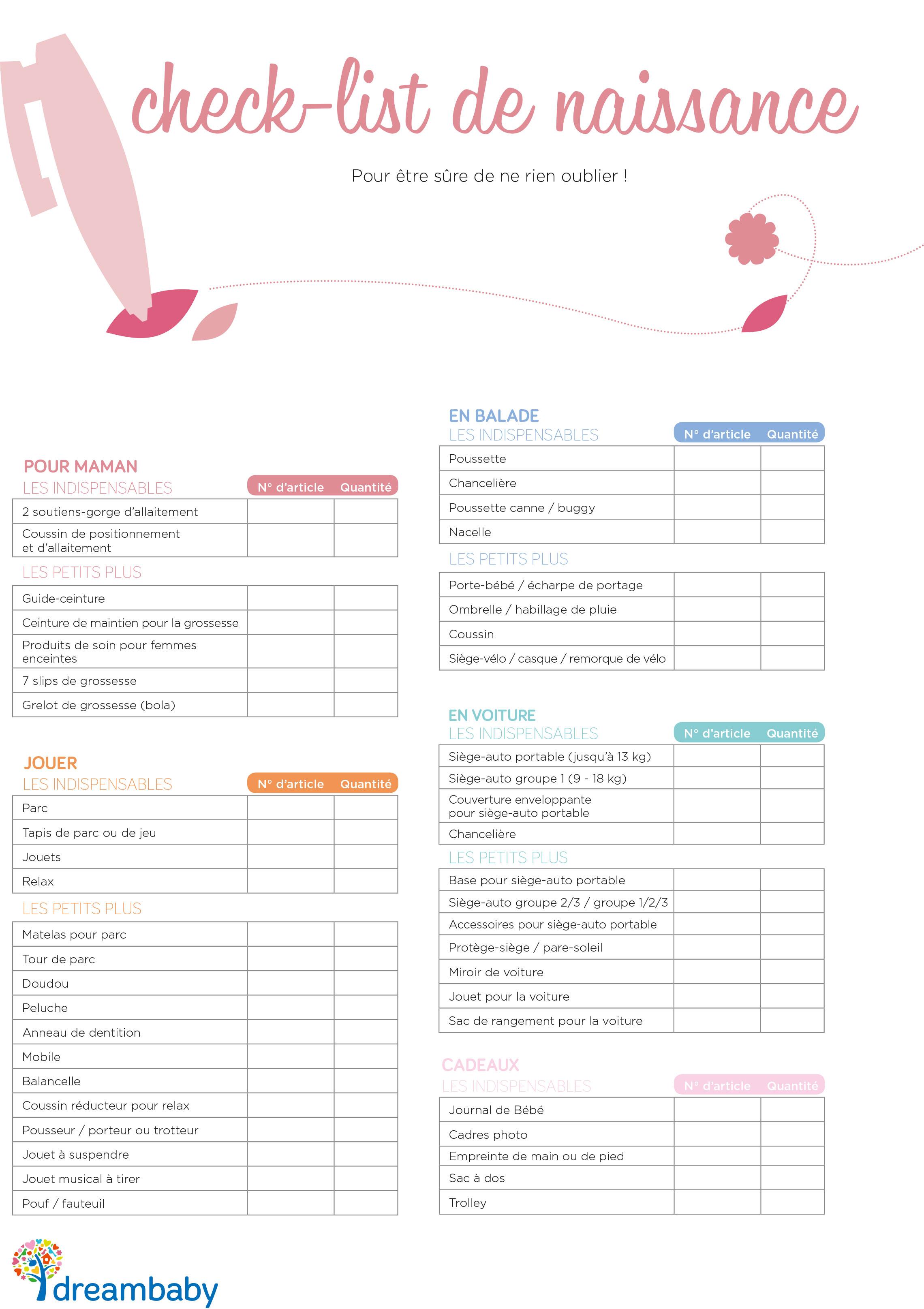 modele liste de naissance